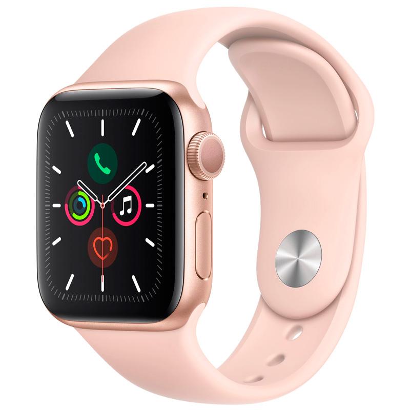 Часы Apple Watch Series 5 40mm Gold Aluminum розовый ремешок