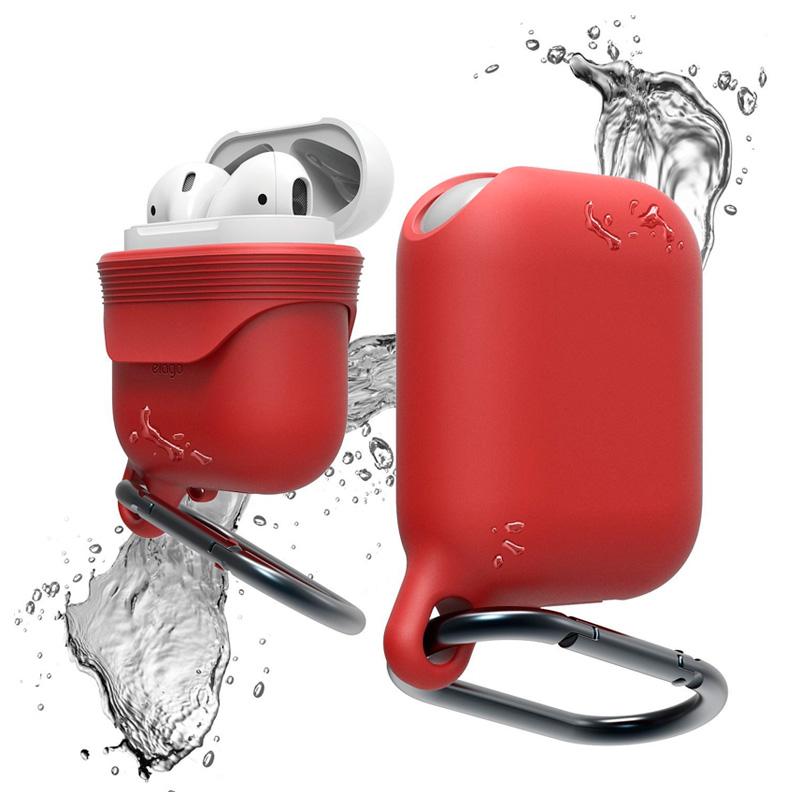 Чехол силиконовый влагозащитный с карабином для AirPods, красный