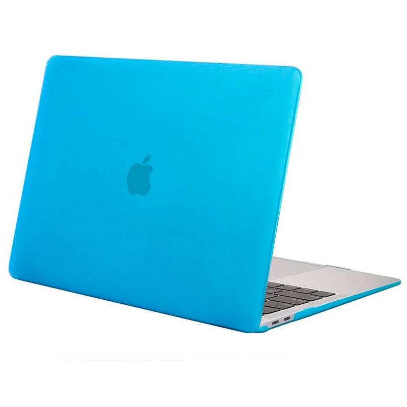 """Чехол-накладка пластик матовый для MacBook Air (2018) 13"""" прозрачно-голубой"""