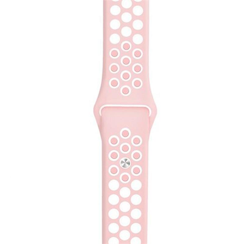 Спортивный ремешок Nike Style для Apple Watch 38/40mm, розовый/белый