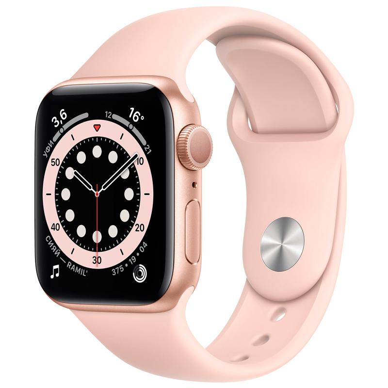 Часы Apple Watch Series 6 40mm Gold Aluminum розовый ремешок