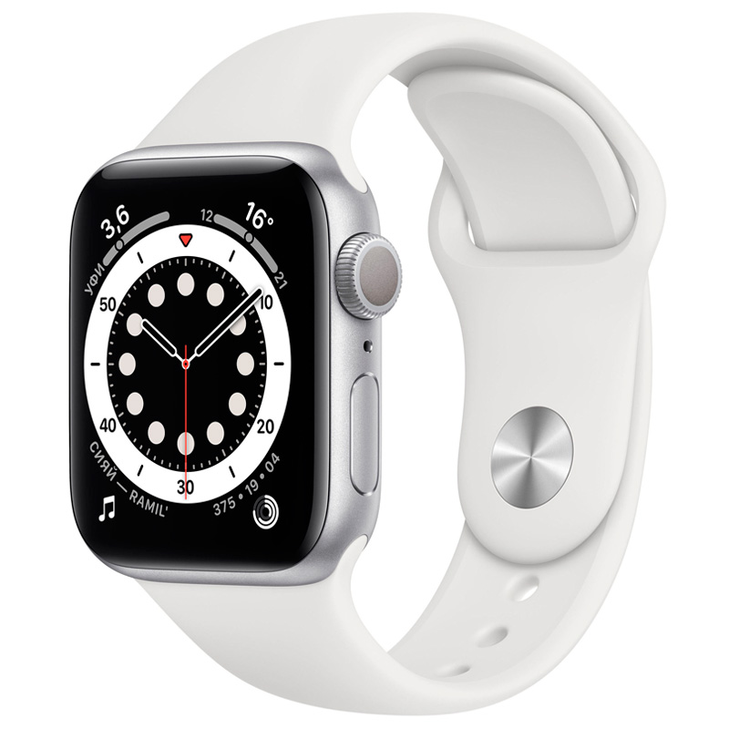 Часы Apple Watch Series 6 40mm Silver Aluminum белый ремешок