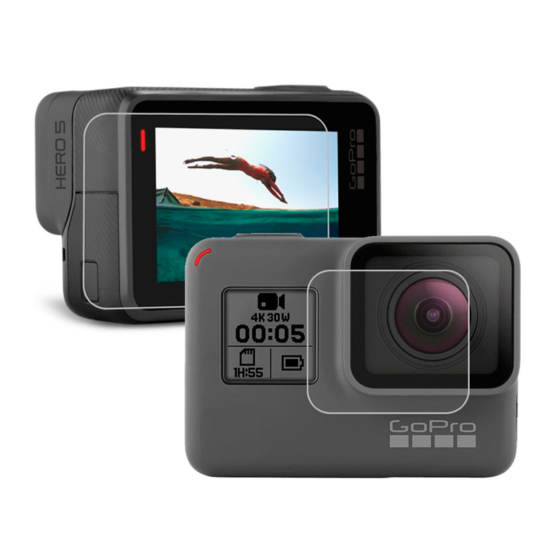 Пленка защитная для GoPro Hero 5/6/7 комплект 2 шт (на дисплей, линзу)