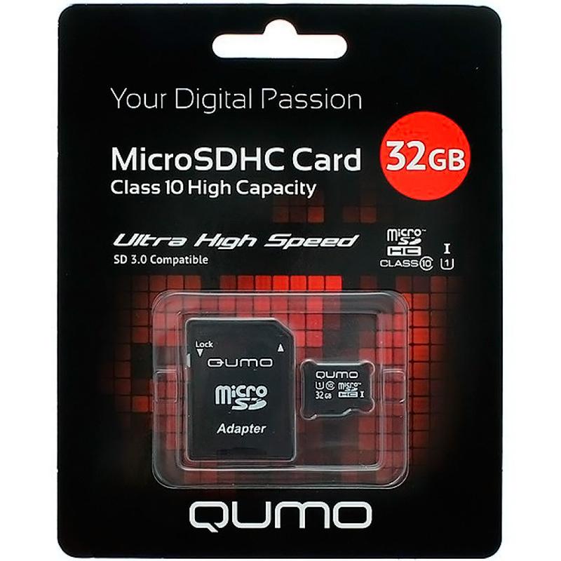 Карта памяти QUMO MicroSD 32GB 10 class High Capacity (с адаптером)