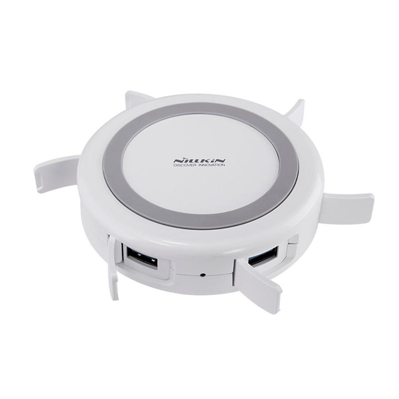 Беспроводное зарядное Nillkin Hermit, USB 3.0 HUB, белое