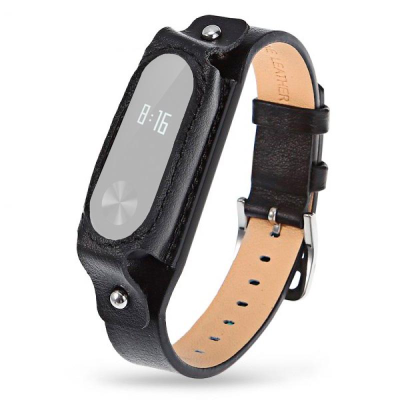 Ремешок кожаный для Xiaomi Mi Band 2 черный