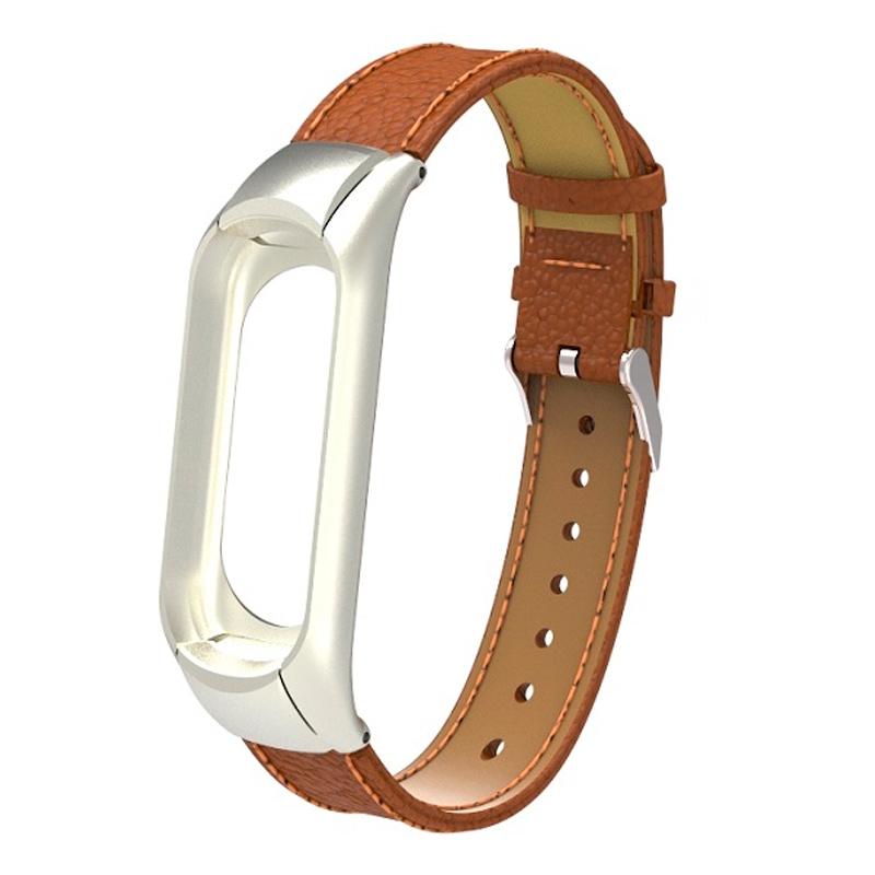 Ремешок кожаный для Xiaomi Mi Band 3, коричневый