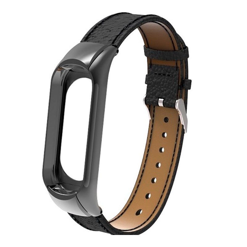Ремешок кожаный для Xiaomi Mi Band 3, черный