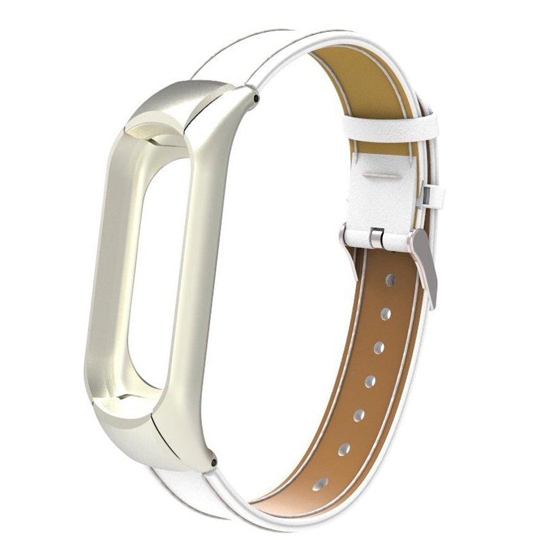 Ремешок кожаный для Xiaomi Mi Band 3, белый