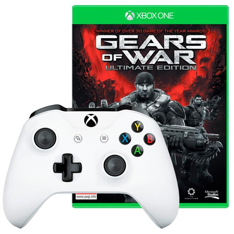 Игровой контроллер XBox One оригинал, белый + игра Gears of War