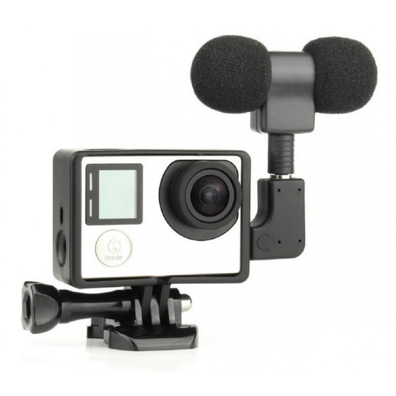 Стереомикрофон + стандартная рамка для GoPro Hero 3/3+/4