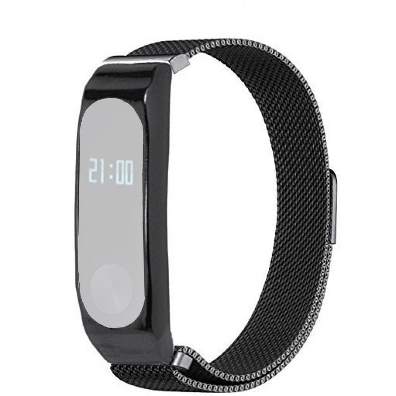 Браслет стальной сетчатый для Xiaomi Mi Band 2 (Черный)