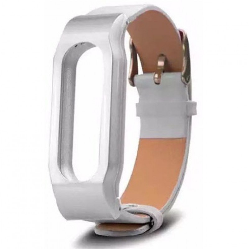 Ремешок кожаный для Xiaomi Mi Band 1/1S, белый