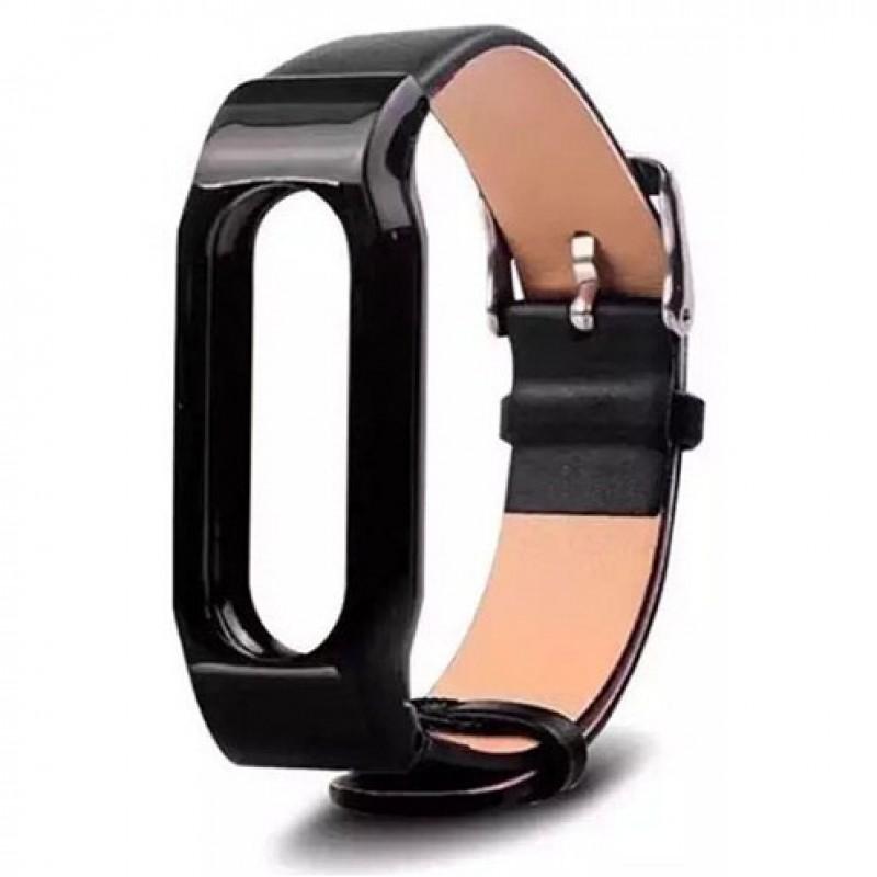 Ремешок кожаный для Xiaomi Mi Band 1/1S, черный