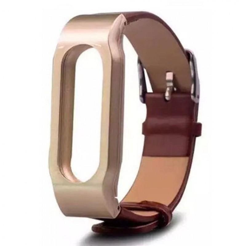 Ремешок кожаный для Xiaomi Mi Band 1/1S, коричневый