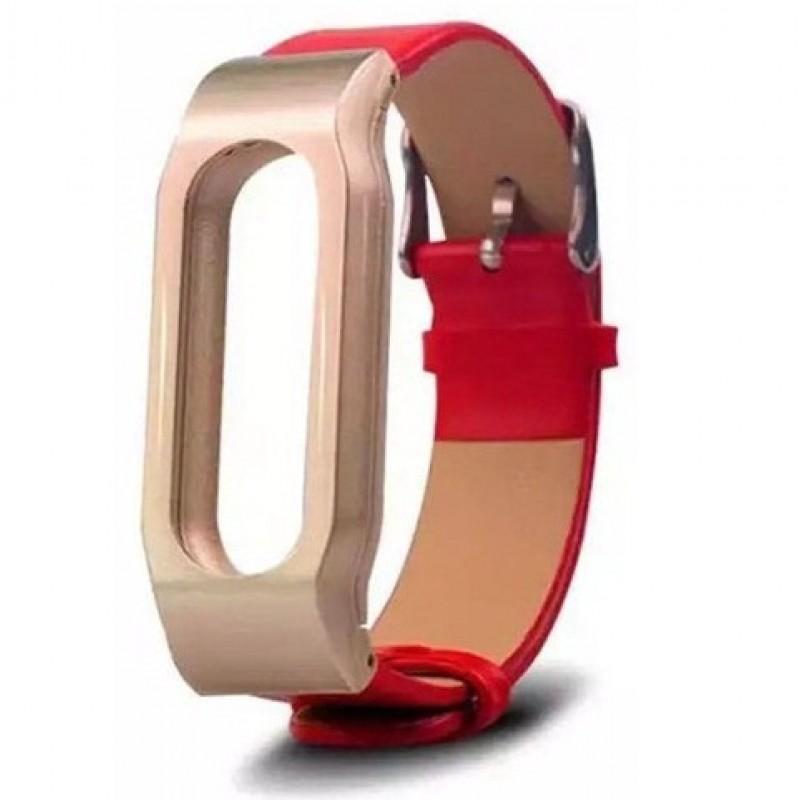 Ремешок кожаный для Xiaomi Mi Band 1/1S, красный