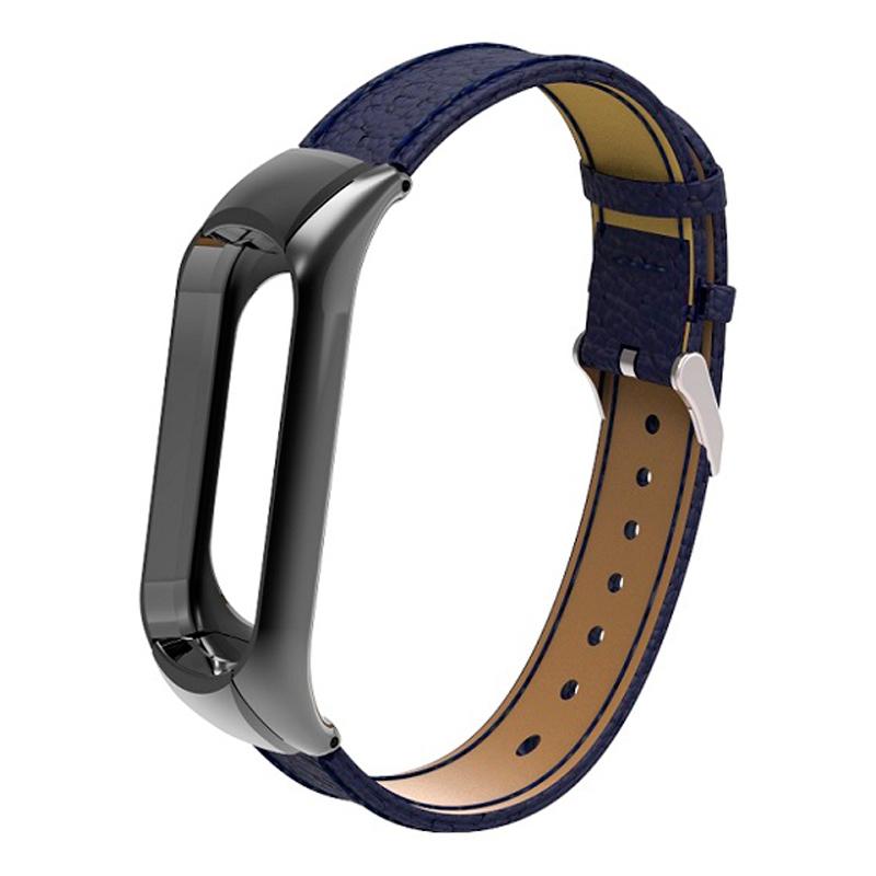 Ремешок кожаный для Xiaomi Mi Band 3, синий