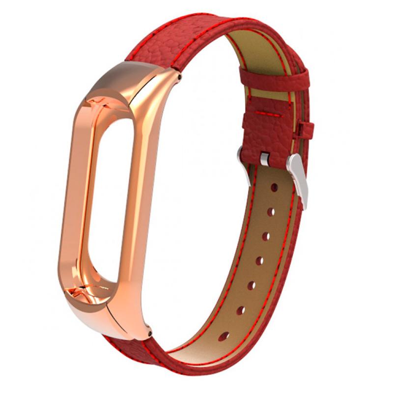 Ремешок кожаный для Xiaomi Mi Band 3, красный