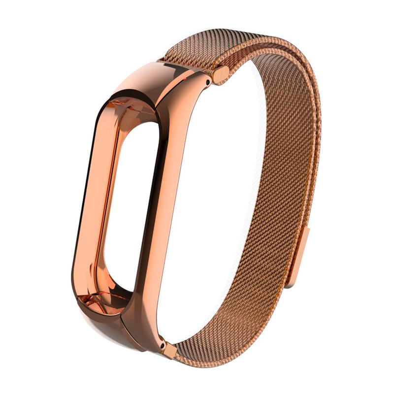 Браслет миланский сетчатый для Xiaomi Mi Band 3, розовое золото