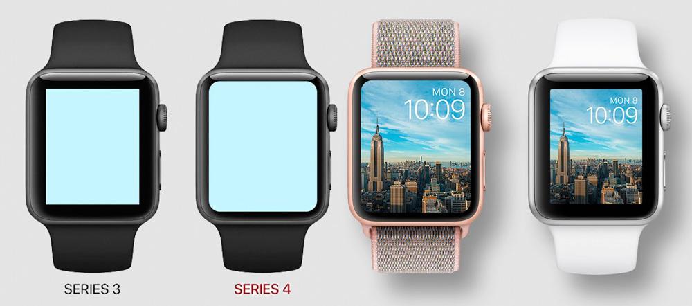 Размер корпуса Apple Watch Series 3 и Series 4