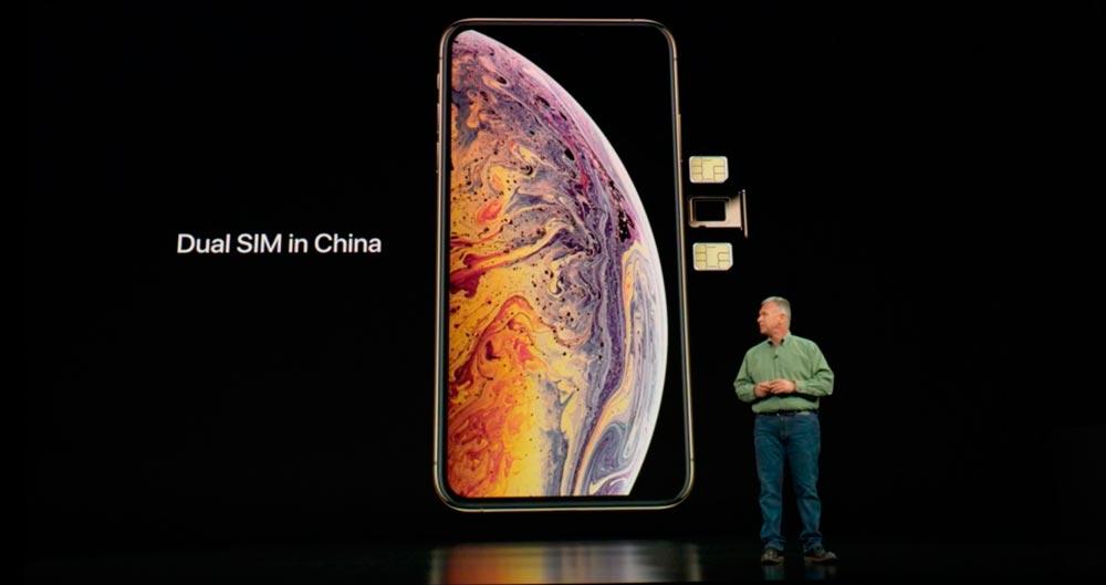 Презентация iPhone Xs на две сим карты